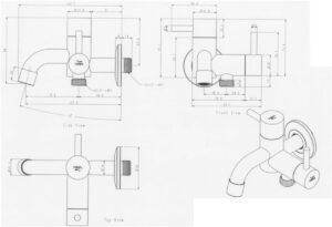 2-Wege-Wasserhahn Pcket, design-Gartenwasserhahn, Edelstahl-Gartenwasserhahn mit zwei Abgängen