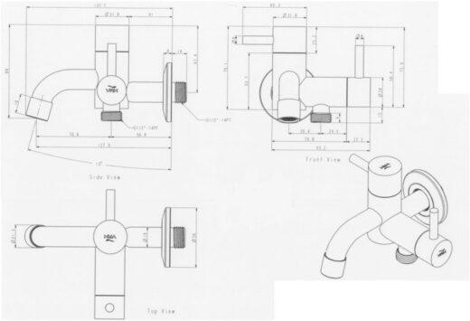 2-Wege-Wasserhahn Pocket, Design-Gartenwasserhahn, Edelstahl-Gartenwasserhahn mit zwei Abgängen