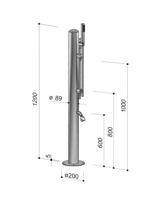 Außendusche COL90.2/BX Kaltwasser, Gartendusche mit Handbrause und Fußdusche aus Edelstahl V4A, als Pool- und Saunadusche im Außenbereich dauerhaft nutzbar. Auch als Warmwasser-Dusche erhältlich