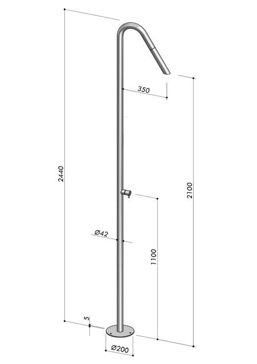 TWIGGY ist eine wunderbar schlichte Duschsäule aus Edelstahl. Der Hersteller FONTEALTA produziert die Duschen gezielt für den Außenbereich. Aus Edelstahl V4A halten sie jeglichen Umwelteinflüssen, wie zum Beispiel Chlor, Salz oder Kalk stand. Die Designer Gartenduschen lassen sich bodenseitig am Pool als Pooldusche oder als Saunadusche installieren. Dieses Modell ist mit Kaltwasser ausgestattet.