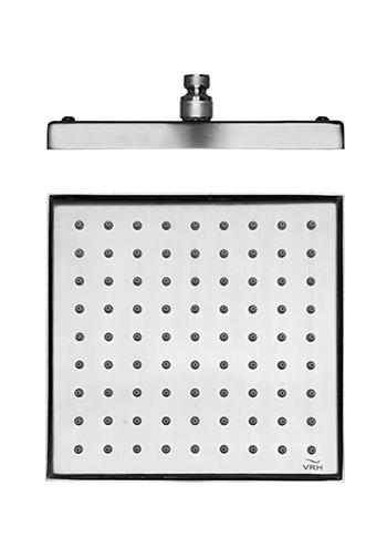 Duschkopf Harmony in Edelstahl, quadratische Kopbrause mit Kugelgelenk, 203 x 203 mm
