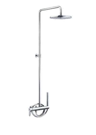 Duschset-VRH-RIVIERA-Warmwasser-Wanddusche-Aufputz-aus-Edelstahl-fuer-den-Aussenbereich.-Inklusive-Handbrause-und-Einhebelmischer.-Mit-grossem-Duschkopf-ausgestattet