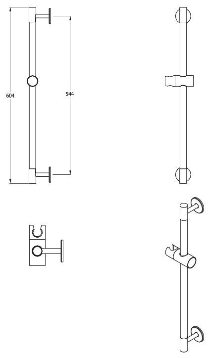 Duschstang für Handbrause, Edelstahl