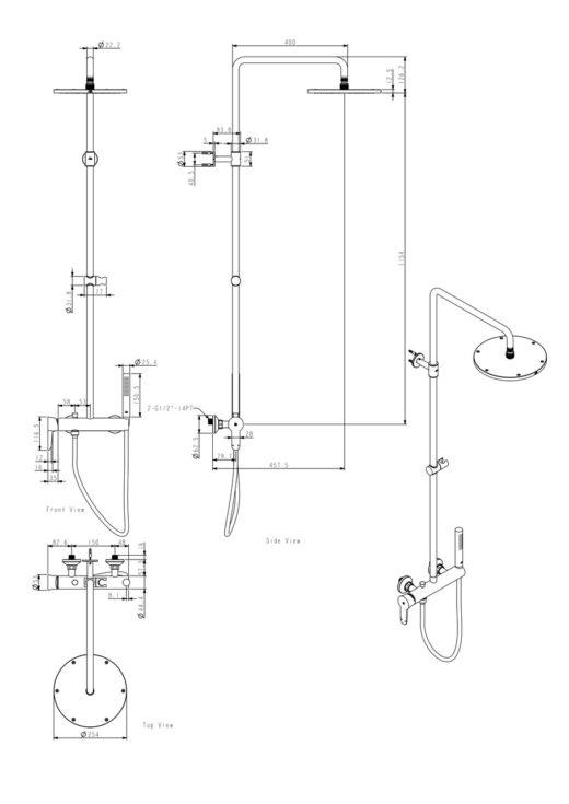 Gartendusche, Wanddusche, Duschset in Edelstahl warm/kalt, Inox 316 (V4A)
