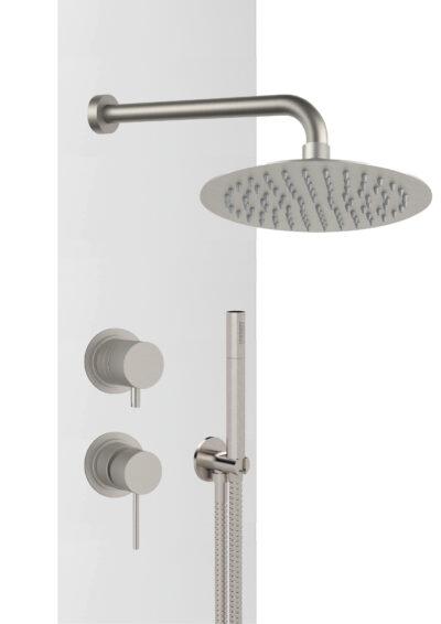 Gartendusche-Set DL DAVA Warmwasser, Daniel Rubinetterie, 100% Made in Italy aus Edelstahl V4A matt gebürstet für den Außenbereich