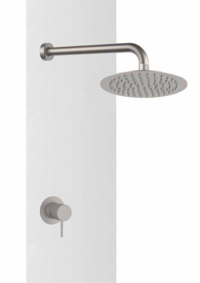Gartendusche-Set-DL-DAVIN-Warmwasser-Wanddusche-fuer-den-Aussenbereich-Garten-aus-V4A-Edelstahl-matt-gebuerstet-o20cm