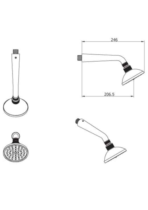 Gartendusche-Set-VRH-Duschkopf-JAX-Unterputz-Wanddusche-Gartenduche-aus-Edelstahl-zur-Wandmontage