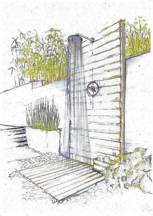 Gartendusche, Außendusche für die Wand