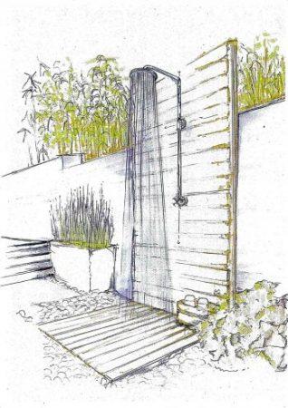 Gartendusche Idee, Außendusche für die Wand