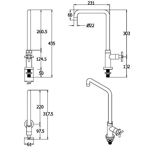 Küchenarmatur Smooth, Wasserhahn Kaltwasser, Gartenküchen-Armatur