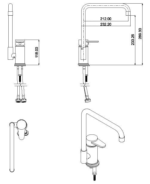 Küchenarmatur Romeo, Edelstahl-Küchenarmatur, Gartenküchen-Armatur, Spültischarmatur, Spültischmischer, Einhebelmischer