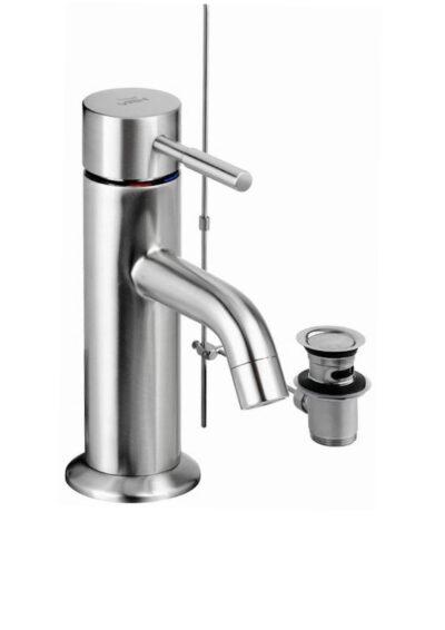 Waschtischarmatur-VRH-MARATHON-Warmwasser-Mischbatterie-aus-Edelstahl-mit-Warmwasser-und-Kaltwasser-inklusive-Ablaufgarnitur