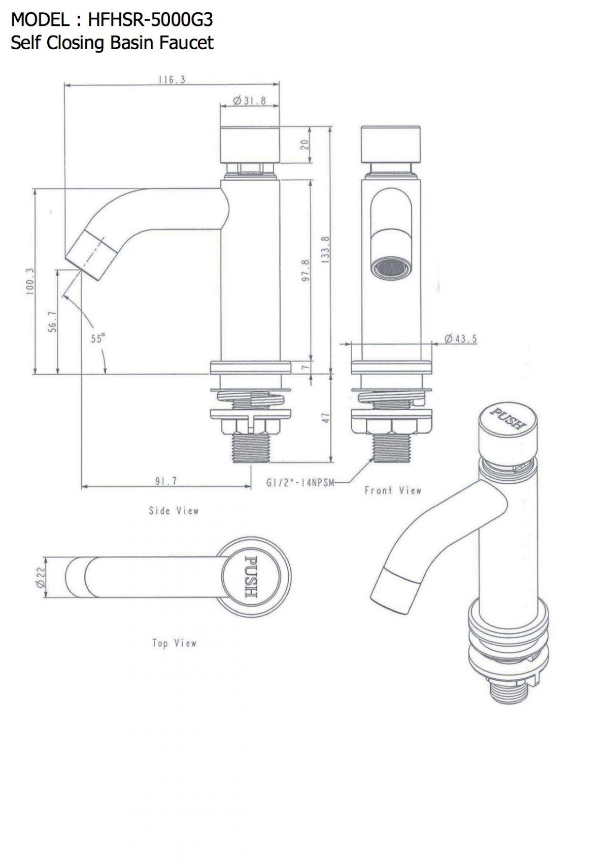 Wasserhahn Pocket, selbstschließender Edelstahl-Wasserhahn