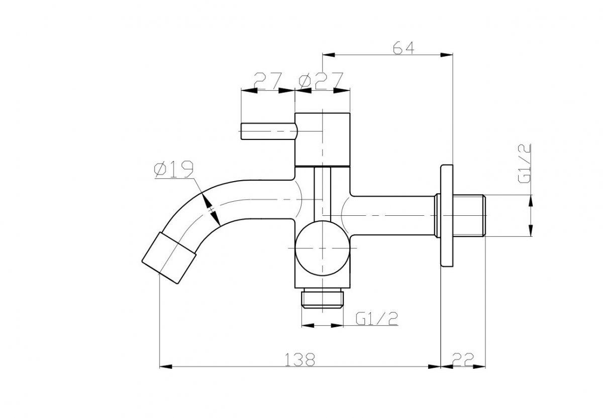 Wasserhahn Imber Twin, Wasserhähne, Edelstahl-Wasserhahn, Design, 2-Wege-Wasserhahn, Zwei-Wege-Wasserhahn