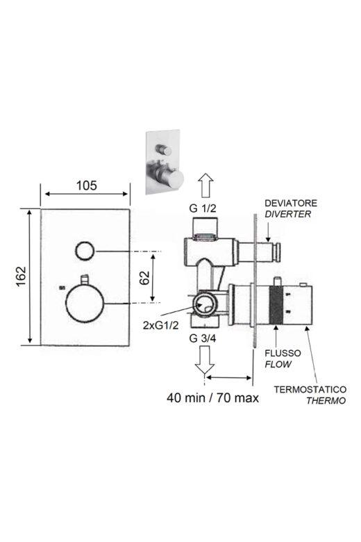 2-Wege-Unterputz-Thermostat-Armatur DL SMART Warmwasser, Gatendusche, pooldusche, Außendusche in Edelstahl V4A, Inox Aisi 316