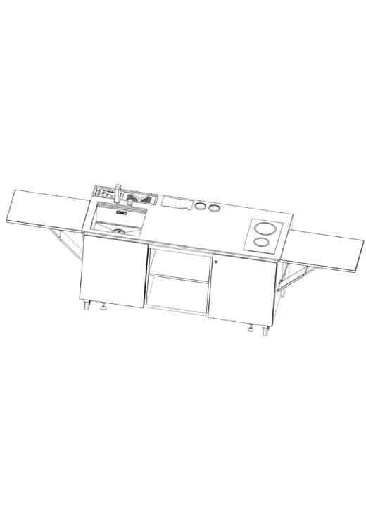 Die Gartenküche INDUKTION easy bietet viel Fläche zum Verarbeiten von Lebensmitteln. Über eine integrierte Spüle ist eine Waschmöglichkeit gegeben. Weiter Küchengeräte finden viel Platz. Über integrierte Steckdosen kann die Küche über weitere Geräte problemlos erweitert werden. Zudem befindet sich ein Kühlschrank versteckt unter der 2er Herdplatte sowie viel Platz für Zubehör. Küchenabfälle können im mitgelieferten Abfallsystem entsorgt werden.