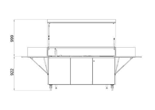 Mobile Restaurantküche/Hotelküche aus Edelstahl. Mobil kochen auf der Gartenterrasse. Ausgestattet mit einem Induktionsherd und Teppanyaki-Grill. Die Küche beherbergt eine Spüle, einen Kühlschrank, Stauraum und eine Schublade mit Abfalltrennsystem. Hergestellt aus Edelstahl V4A hält die Küche jeder Wetterlage stand.